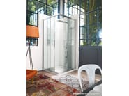 Corner custom crystal shower cabin with sliding door SERIE 6000: 6200 - VISMARAVETRO