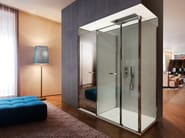 Corner shower cabin with storage container TWIN T24 - VISMARAVETRO