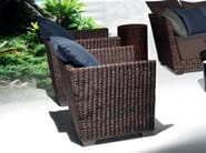 Garden armchair with armrests in handwoven black pulut BLACK 05 - Gervasoni