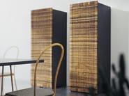 Storage unit with doors in handwoven dark pulut NET 187 - Gervasoni