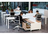 Sectional office desk with shelves SPINE - ACTIU