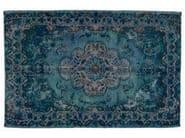 Vintage style handmade rectangular rug DECOLORIZED BLUE - Golran