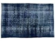 Vintage style handmade rectangular natural fibre rug DECOLORIZED DARK BLUE - Golran
