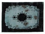 Vintage style patterned handmade rectangular rug DECOLORIZED MOHAIR BLACK - Golran