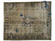 Vintage style handmade rectangular rug DECOLORIZED MOHAIR AQUA - Golran