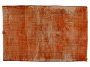 Vintage style handmade rectangular rug DECOLORIZED MOHAIR ORANGE - Golran