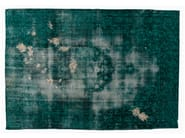 Vintage style handmade rectangular rug DECOLORIZED MOHAIR TURQUOISE - Golran