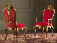 Walnut embroidered velvet chair gold leaf carves - Villa Venezia Collection - Modenese Gastone
