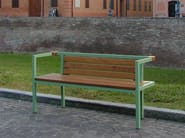 Steel and wood Bench with armrests LONG&ONE - SMEC