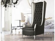 Tufted high-back leather armchair with armrests NINA LUXURY | Leather armchair - Formenti