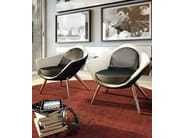 Upholstered leather easy chair with armrests IRIS - Formenti