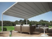Wall-mounted aluminium pergola with sliding cover FLEXIA - TENDA SERVICE