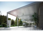 Wall-mounted aluminium pergola with adjustable louvers with built-in lights BIOSHADE ADDOSSATA - TENDA SERVICE