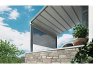 Wall-mounted wooden pergola with sliding cover WOOD - TENDA SERVICE