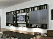 Sectional wall-mounted lacquered storage wall CROSSING | Wall-mounted storage wall - MisuraEmme