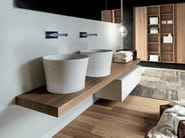 Lacquered wall-mounted wooden vanity unit with drawers VIA VENETO | Wooden vanity unit - FALPER