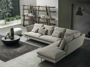 Corner sofa with removable cover with chaise longue LARS | Sofa with chaise longue - Bonaldo