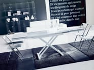 Height-adjustable folding table UGO | Crystal and steel table - Bontempi Casa