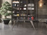 Rectangular crystal and stainless steel table RAMOS | Extending table - Bontempi Casa