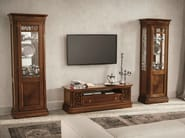 Sectional walnut TV wall system TIFFANY | Walnut storage wall - Dall'Agnese