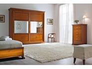 Mirrored cherry wood wardrobe with sliding doors BOHEMIA | Mirrored wardrobe - Dall'Agnese
