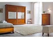 Mirrored cherry wood wardrobe with sliding doors BOHEMIA | Decorated glass wardrobe - Dall'Agnese
