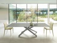 Extending rectangular glass and steel table PECHINO | Extending table - Midj