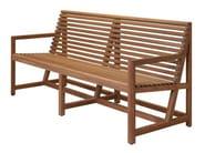 Teak garden bench with armrests GRANVILLE - Tectona