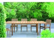 Extending rectangular teak garden table EXETER | Extending table - Tectona