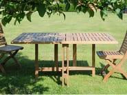 Folding rectangular teak garden table GATELEG - Tectona