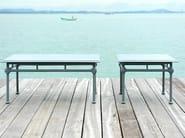 Low square aluminium garden side table 1800 | Square coffee table - Tectona