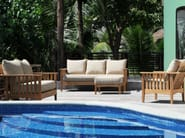 Square teak garden footstool GOA | Garden footstool - Tectona