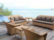 Resin garden armchair with armrests JAVA | Fireside chair - Tectona