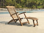 Folding recliner teak deck chair with armrests NORMANDIE - Tectona