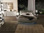"""Zero size small bed with Bold h. 960 headboard in creta coloured """"aged"""" leather with matt bianco candido lacquered Point coffee tables. Methacrylate feet with optional led lighting."""