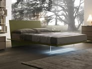 Matt verde army lacquered Plana bed. Methacrylate foot with optional led lighting.