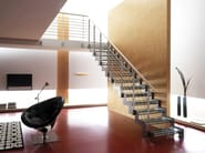 Straight glass and steel Open staircase MONOLAMA - RINTAL
