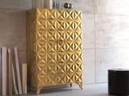 Storage bathroom cabinet with doors DIAMOND   Mobile giorno foglia oro - Bizzotto