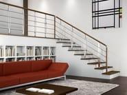 Steel and wood Stair railing LEAF - RINTAL