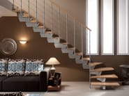 Steel and wood Stair railing TUBE | Balustrade - RINTAL