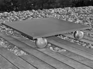 Square fiber-reinforced concrete coffee table with casters INDUS - MALHERBE EDITION