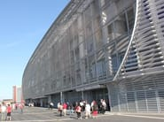 Facade cladding with architectural wire mesh DOGLA-TRIO 1030 - Stade Pierre Mauroy, France.