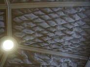 Three-dimensional wire mesh ceiling with MONTANA 1961 at a subway station in Cologne.