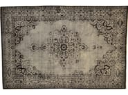 Patterned rectangular cotton rug FUSION BLACK & SILVER - Mohebban