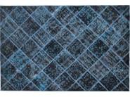 Patchwork rectangular cotton rug FUSION PATCH BLACK & ELECTRIC BLUE - Mohebban