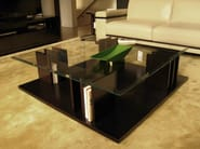Square wooden coffee table with integrated magazine rack for living room HAUSSMANN - HUGUES CHEVALIER