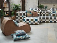 Upholstered leather armchair VIRGOLA   Leather armchair - MissoniHome