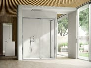 Corner shower cabin with pivot door LIKE 09 - IdeaGroup