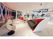 Beaugrenelle Shopping Centre, Paris - Design: BRANDIMAGE - Manufacturing: ADJ - Photo credit: ©Mathieu Ducros - Materials: HI-MACS®, Alpine White, Fiery Red