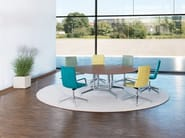 Round aluminium and wood meeting table FINA CONFERENCE | Round meeting table - Brunner